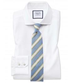 Офисная приталенная рубашка Charles Tyrwhitt, стрейч коллекция, ткань не требует глажки, срезанный воротник