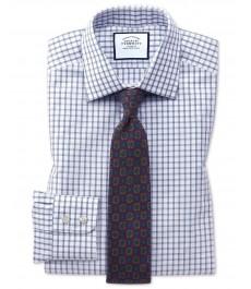 Приталенная офисная рубашка Charles Tyrwhitt, с голубой клеткой в виде оконных стёкл