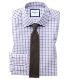 Экстраприталенная рубашка Charles Tyrwhitt, фиолетовая клетка в виде окошек