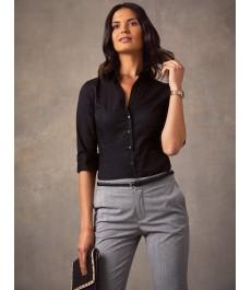 Женская приталенная черная рубашка, рукав 3/4 - низкий воротник