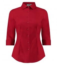 Женская однотонная красная рубашка, приталенная, рукав 3/4 - низкий воротник