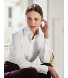 Женская приталенная английская рубашка - крой хипстер с удлиненным воротником - манжеты на пуговицах