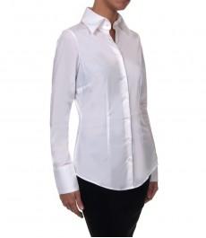 Белая приталенная женская блузка одиночная манжета