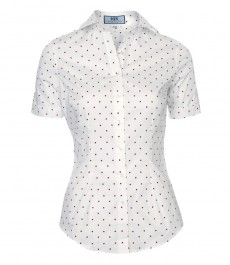 Женская приталенная рубашка в мелкий красно-белый горох, короткий рукав-низкий воротник