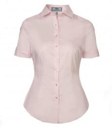 Женская приталенная рубашка, цвет светлорозовый, короткий рукав-низкий воротник