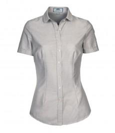 Женская приталенная рубашка, серая, короткий рукав