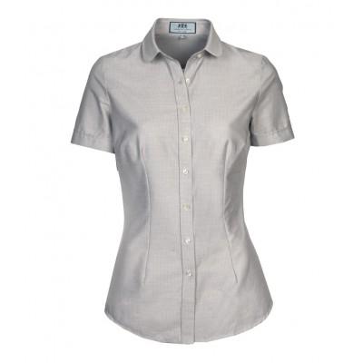 cec3b78e96dee19 Женская приталенная рубашка, серая, короткий рукав
