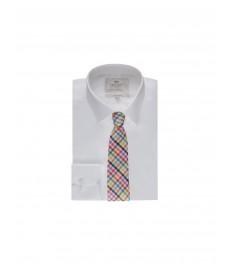 Мужская гладкотканная приталенная рубашка - рукав под пуговицу - Лёгкая глажка