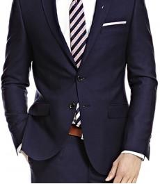 Мужской приталенный темно-синий пиджак, в полоску