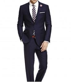Мужской приталенный костюм, темно-синий в полоску - шерсть SUPER 120'S