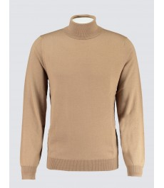 Мужской приталенный джемпер из мериносовой шерсти, с округлой шеей, песочного цвета