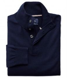 Тёмно-синий  джемпер Charles Tyrwhitt из мериносовой шерсти , высокий воротник на пуговицах