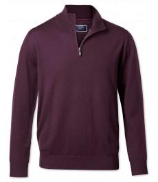 Джемпер Charles Tyrwhitt, мериносовая шерсть, винного бордового цвета, V-образный воротник с молнией