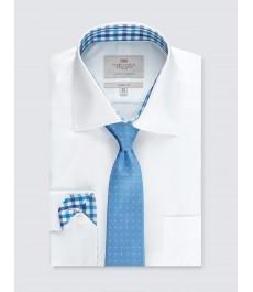 Мужская офисная классическая рубашка, белая, ткань твилл, с контрастными деталями - рукав под пуговицу - с карманом - Лёгкая глажка