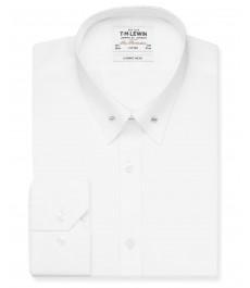Премиальная приталенная хлопковая рубашка TM Lewin, гладкая, белая, воротник с булавкой - рукав под пуговицу