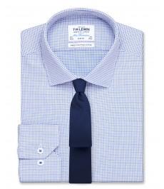 Мужская приталенная голубая рубашка TM Lewin, ткань гусиная лапка, рукав под пуговицу