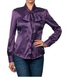 Фиолеотовая сатиновая женская блузка с принтом