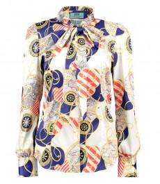 Женская приталенная рубашка, кремовая, золотой дизайн, сатин - воротник-шарф