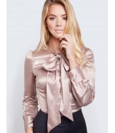 Женская приталенная рубашка, бежевая сатин - завязывающийся шарф