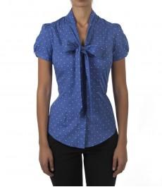 Женская приталенная рубашка, цвет синий в белый горох, короткий рукав, ткань Stretch - воротник бабочка