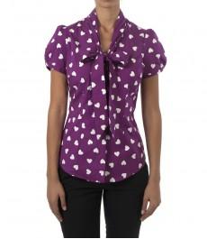 Женская приталенная рубашка, цвет ягодный, принт белое сердце, короткий рукав, ткань Stretch -воротник бабочка