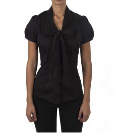 Женская приталенная рубашка, цвет черный, короткий рукав, ткань Stretch-воротник бабочка