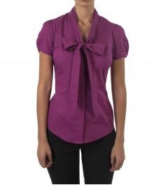 Женская приталенная рубашка, цвет фуксия, короткий рукав, ткань Stretch-воротник бабочка