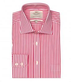 Мужская классическая рубашка Ludlow в светло-красную и белую полоску, с карманом