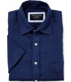 Тёмно-синяя 100% льняная рубашка Joseph Turner с коротким рукавом