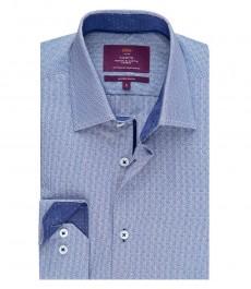 Мужская приталенная рубашка, голубая, волнообразный принт добби - манжеты на пуговицах