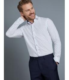 Мужская приталенная рубашка, голубая в белую точку - Манжеты на пуговицах