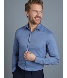 Мужская приталенная рубашка, голубая в красную точку - Манжеты на пуговицах