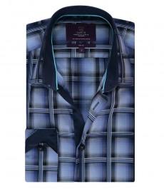 Мужская приталенная рубашка, темно-синяя в белую крупную клетку - манжеты на пуговицах
