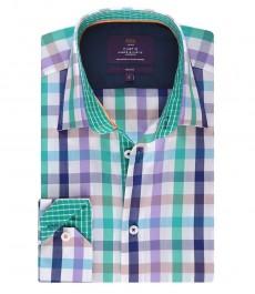 Мужская рубашка, сиреневая в зеленую клетку, приталенная