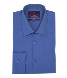 Мужская приталенная рубашка из первоклассного хлопка, цвет французский тёмно-синий - Одиночная манжета