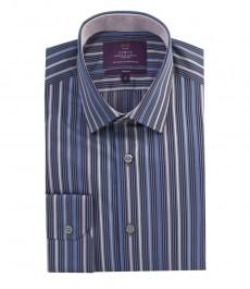 Мужская приталенная рубашка, серая в темно-синюю мульти полоску, 100% хлопок