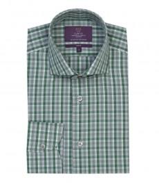 Мужская приталенная рубашка, зелёно-серого цвета в среднюю клетку - манжеты на пуговицах