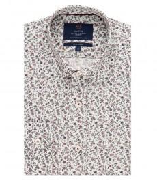 Мужская экстраприталенная рубашка, цветочный принт - манжеты на пуговицах