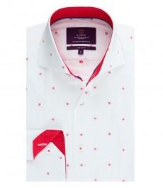 Мужская приталенная рубашка, белая в красную точку - высокий воротник - манжеты на пуговицах
