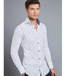 Мужская модная рубашка Curtis белая в тёмно-синюю точку с контрастным воротником - Высокий Воротник - под пуговицу