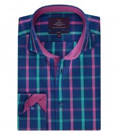 Мужская рубашка, темно-синяя в клетку фуксия, приталенная - высокий воротник