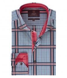 Мужская рубашка, темно-синяя в красную клетку, приталенная - высокий воротник