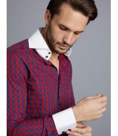Мужская модная приталенная рубашка Curtis в тёмно-синюю с красным клетку - Высокий воротник - рукав под пуговицу