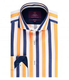 Мужская приталенная рубашка, темно-синяя в оранжевую полоску - высокий воротник - манжеты на пуговицах