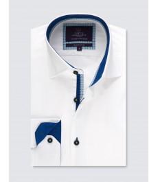 Мужская модная приталенная рубашка Curtis Белая с Голубыми контрастными деталями - Манжеты на пуговицах