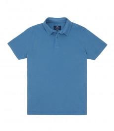 Мужская приталенная рубашка-поло цвета индиго с коротким рукавом, окрашенный 100% хлопок