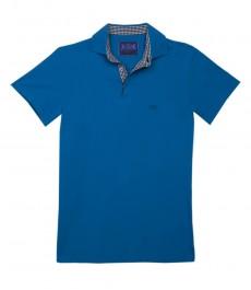 Мужская однотонная бирюзовая футболка-поло с коротким рукавом и контрастными деталями