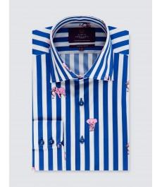 Мужская модная приталенная рубашка Curtis, бело-голубая полоска, принт со слонами, стрейч