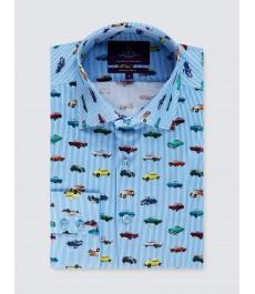 Мужская модная приталенная рубашка Curtis ,бело-голубая полоска с машинками, стрейч - рукав под пуговицу