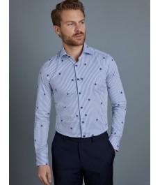 Мужская приталенная рубашка Curtis бело-голубая полоска со звёздами, стрейч - рукав под пуговицу